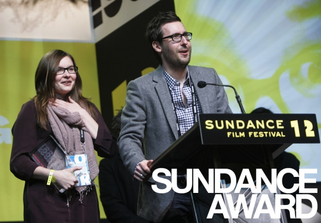 "Kim Raff |The Salt Lake Tribune(from left) Lisanne Pajot and James Swirsky accept the World Cinema Documentary Editing Award for ""Indie Game: The Movie"" during the Sundance Film Festival Awards ceremony at the Snyderville Basin Fieldhouse Recreation Center in Park City, Utah on January 28, 2012."