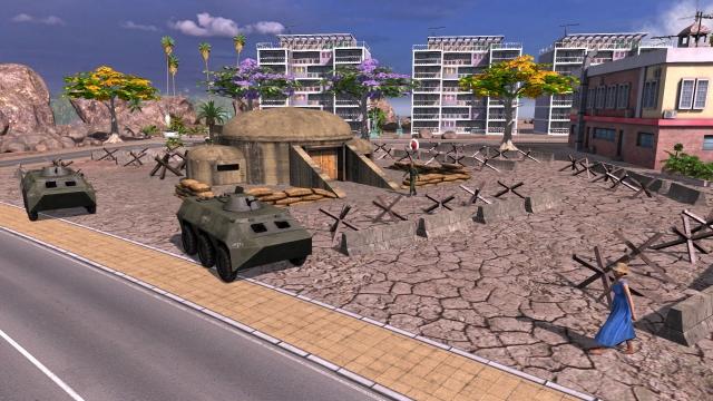 tropico-4-junta-dlc-bunker-with-apc-and-concrete-barricades