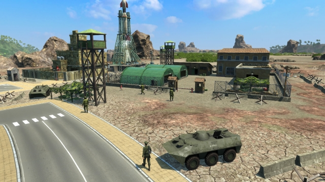 tropico-4-junta-dlc-watchtower-camouflage-ammo-depot-apc-concrete-barricades