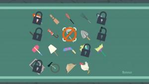 On débloque divers objets au fil de nos joutes.